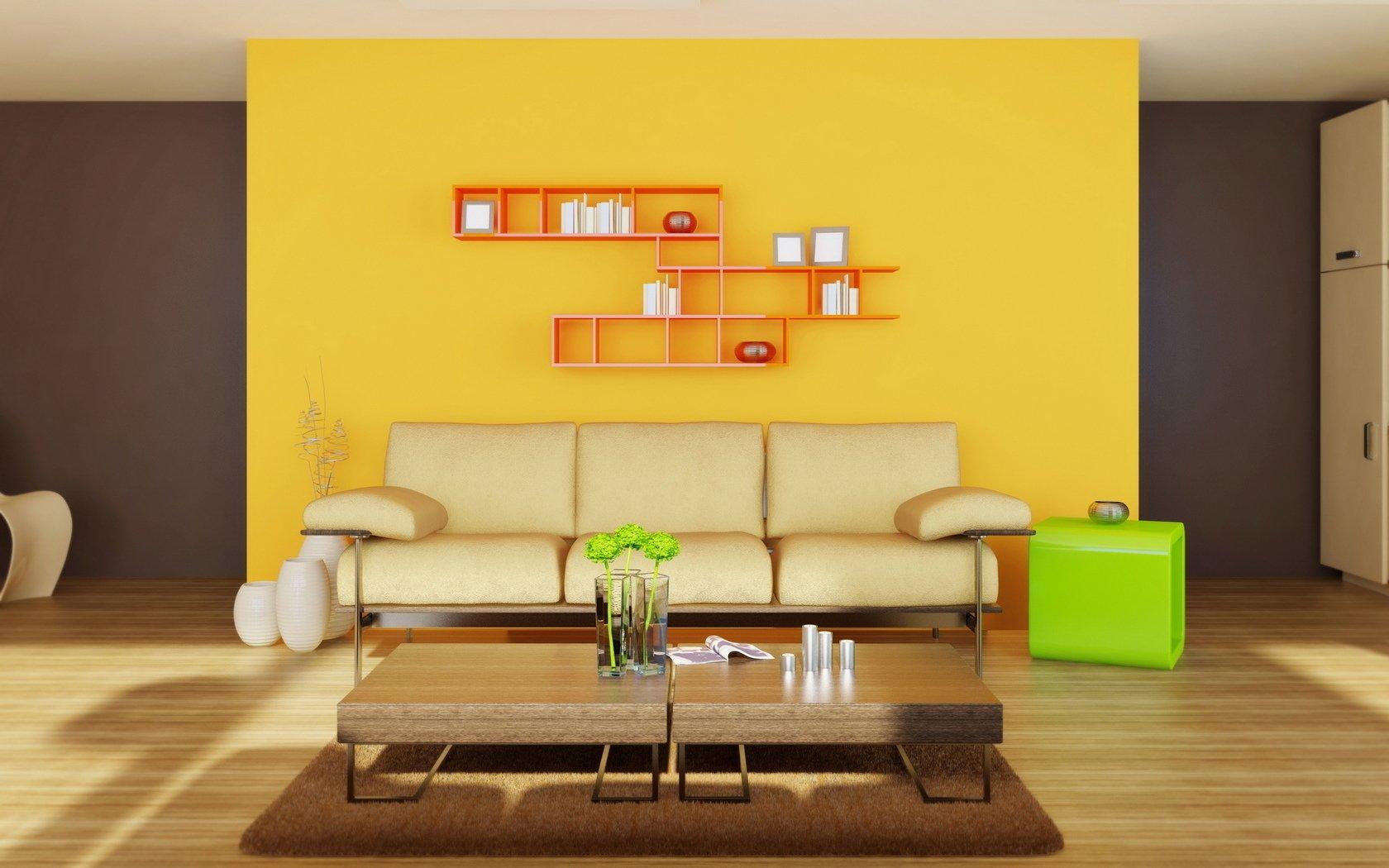 Акцентная стена за диваном