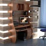 Компьютерный стол в гостиной в стиле модерн