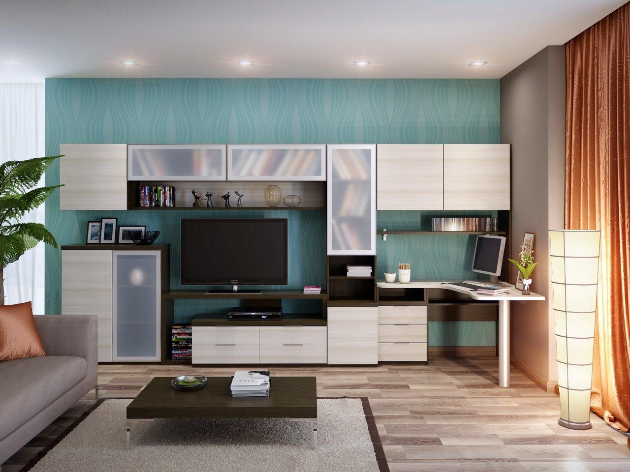 Дизайн гостиной с компьютерным столом