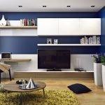 Сине-белая мебель для гостиной