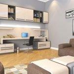 Бежево-коричневая мягкая мебель