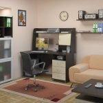 Вариант размещения компьютерного стола в интерьере зала