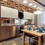 Кухня в стиле лофт в светлых тонах
