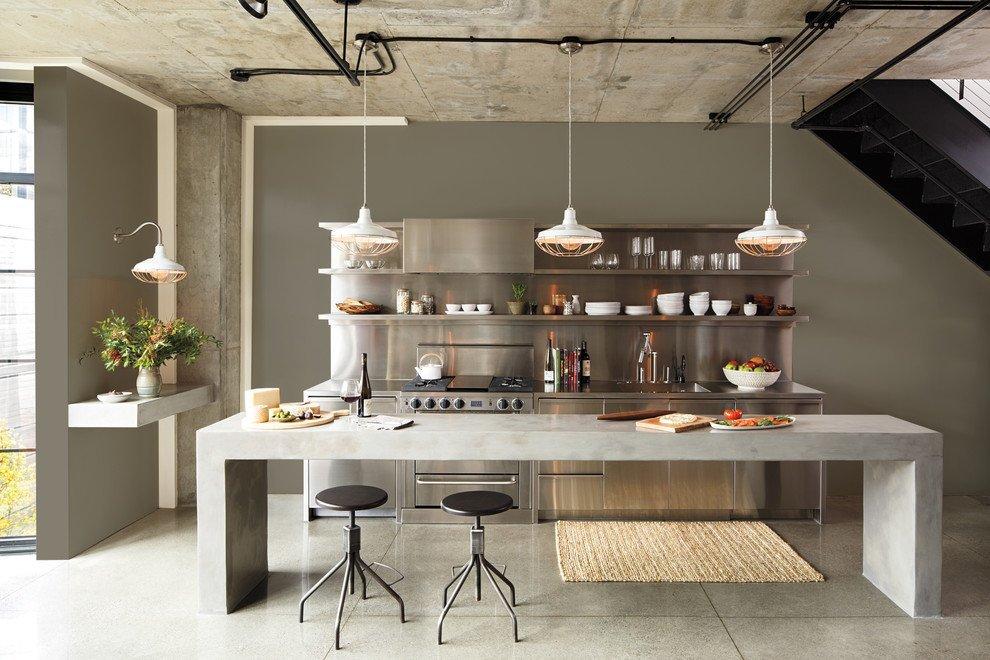 Освещение кухни в стиле лофт