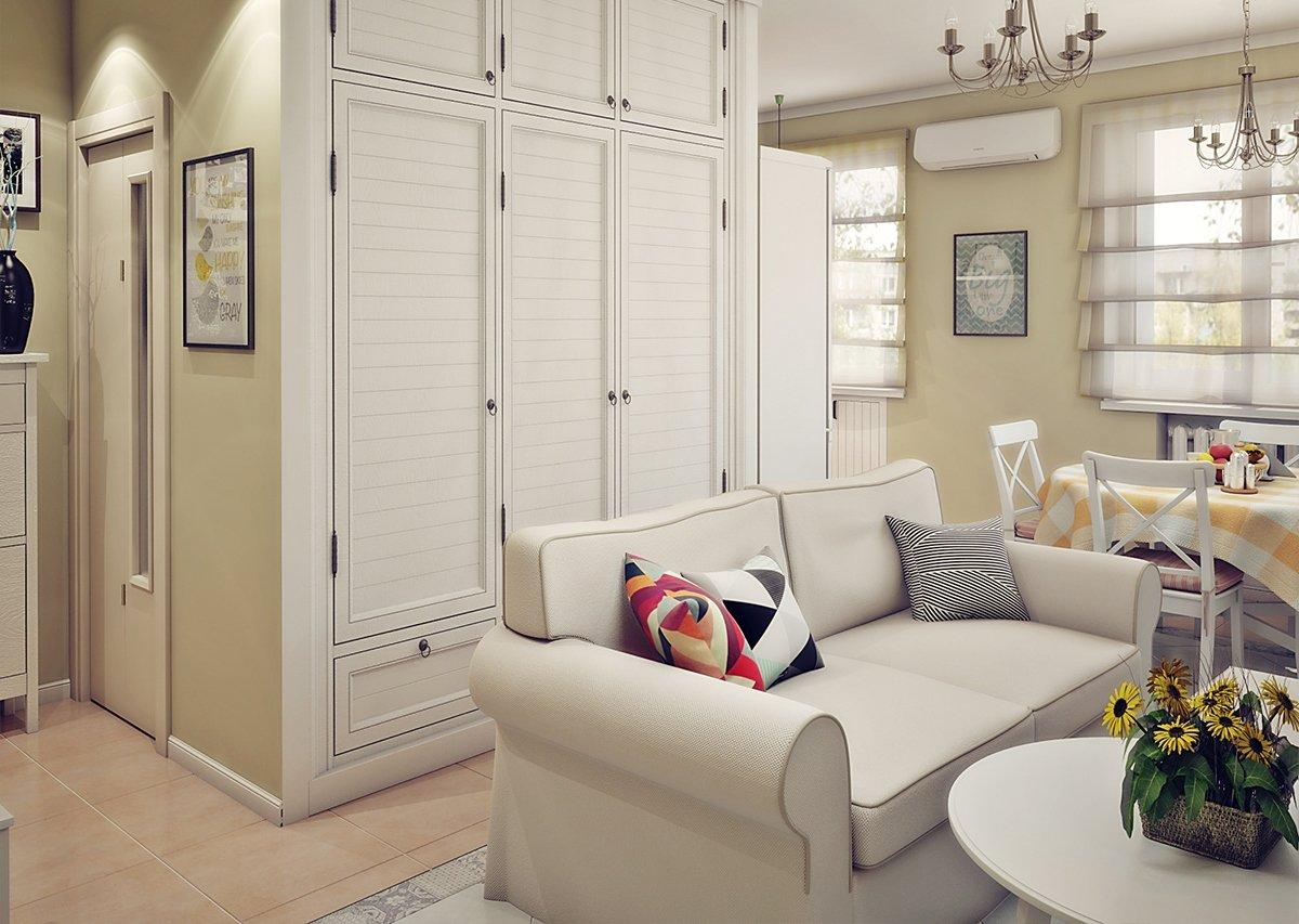Светлая мебель в квартире 45 кв м