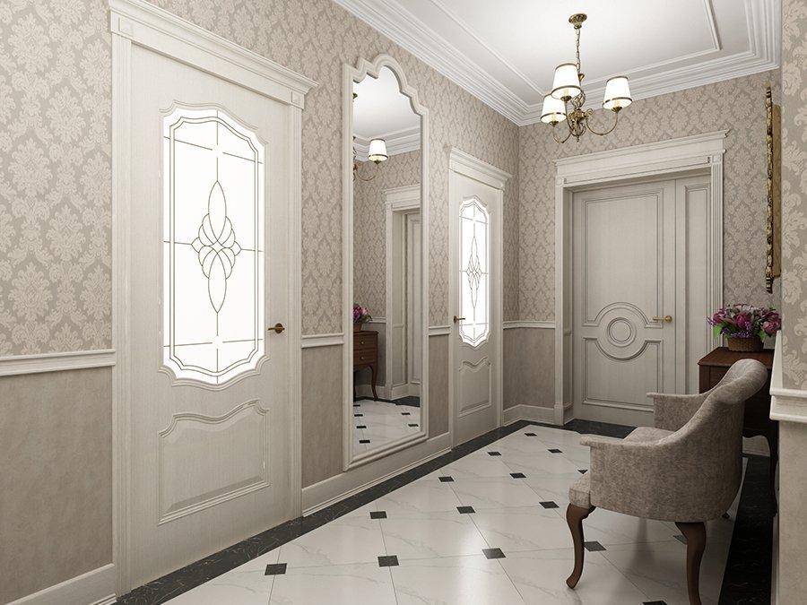 Светлые стены в прихожей в классическом стиле