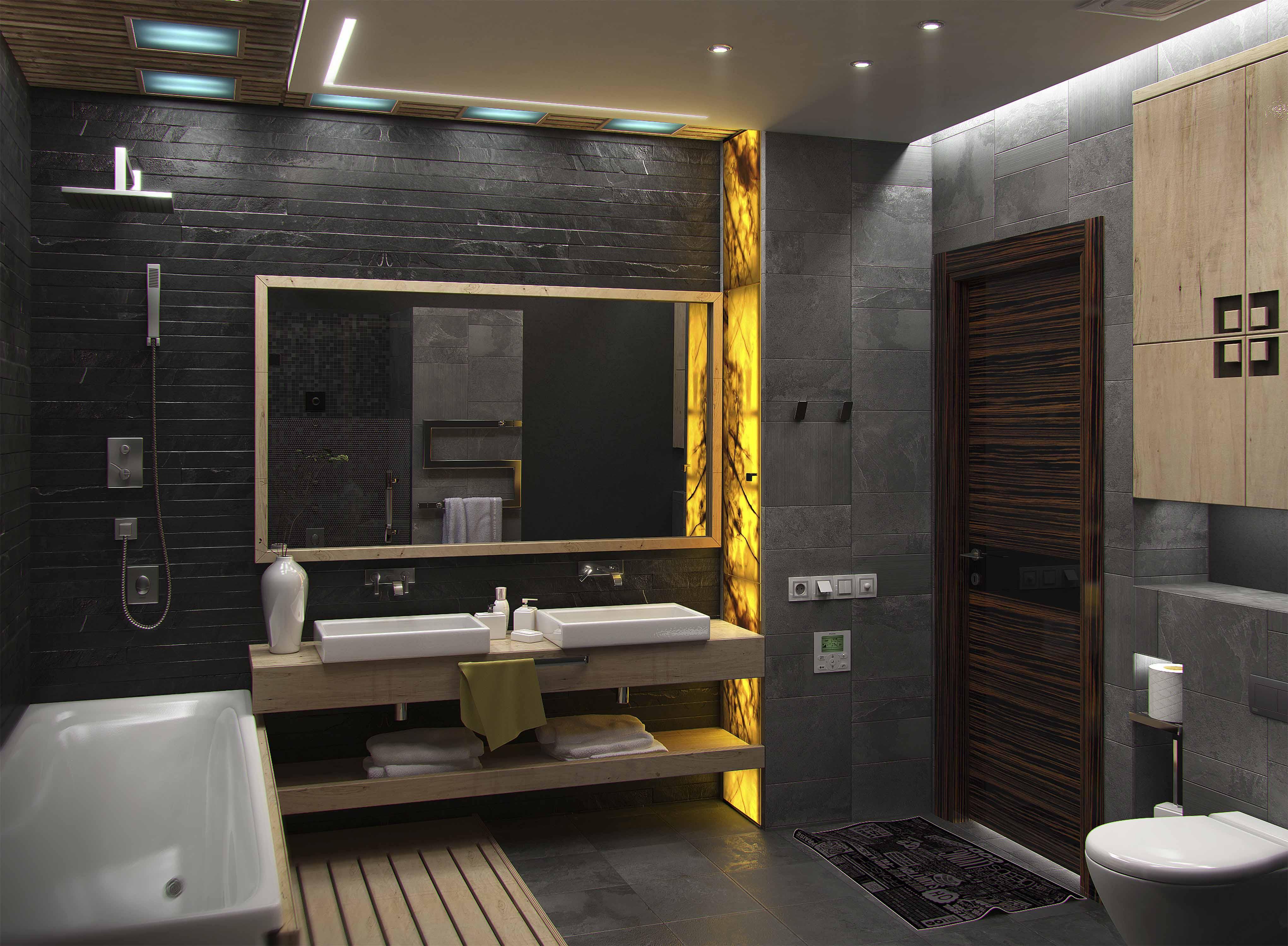 Желтая подсветка в ванной комнате