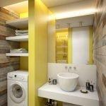Желтый и белый в дизайне ванной комнаты
