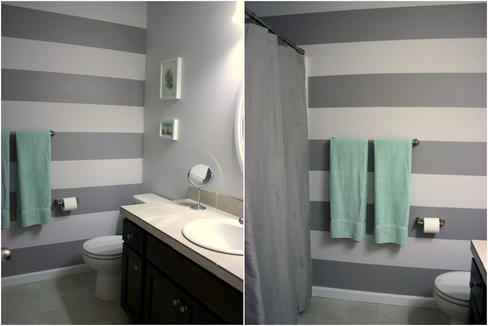 Горизонтальные полосы в дизайне ванной