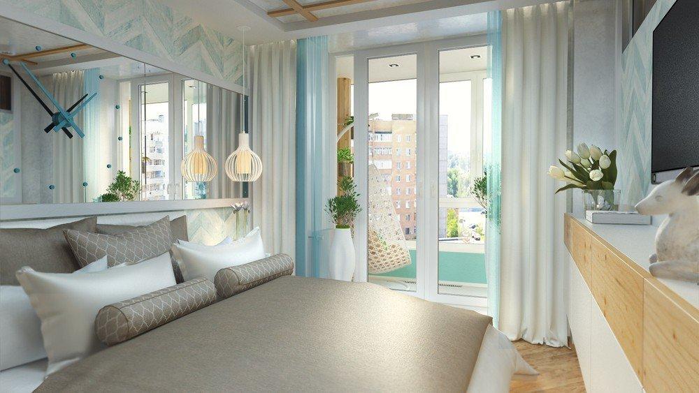 Спальня с панорамными дверями на балкон