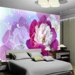 Фотообои для спальни с розовыми цветами