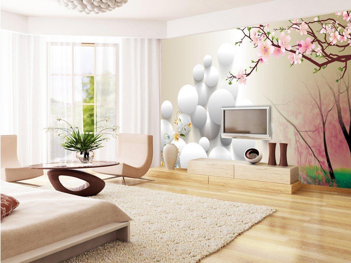 Дизайн белой спальни с фотообоями