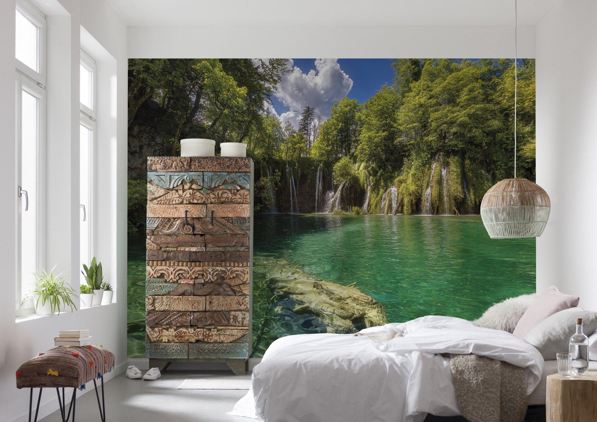 Фотообои с озером и деревьями