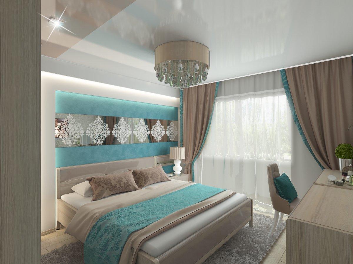 интерьер спальни в бирюзовых тонах фото торговые