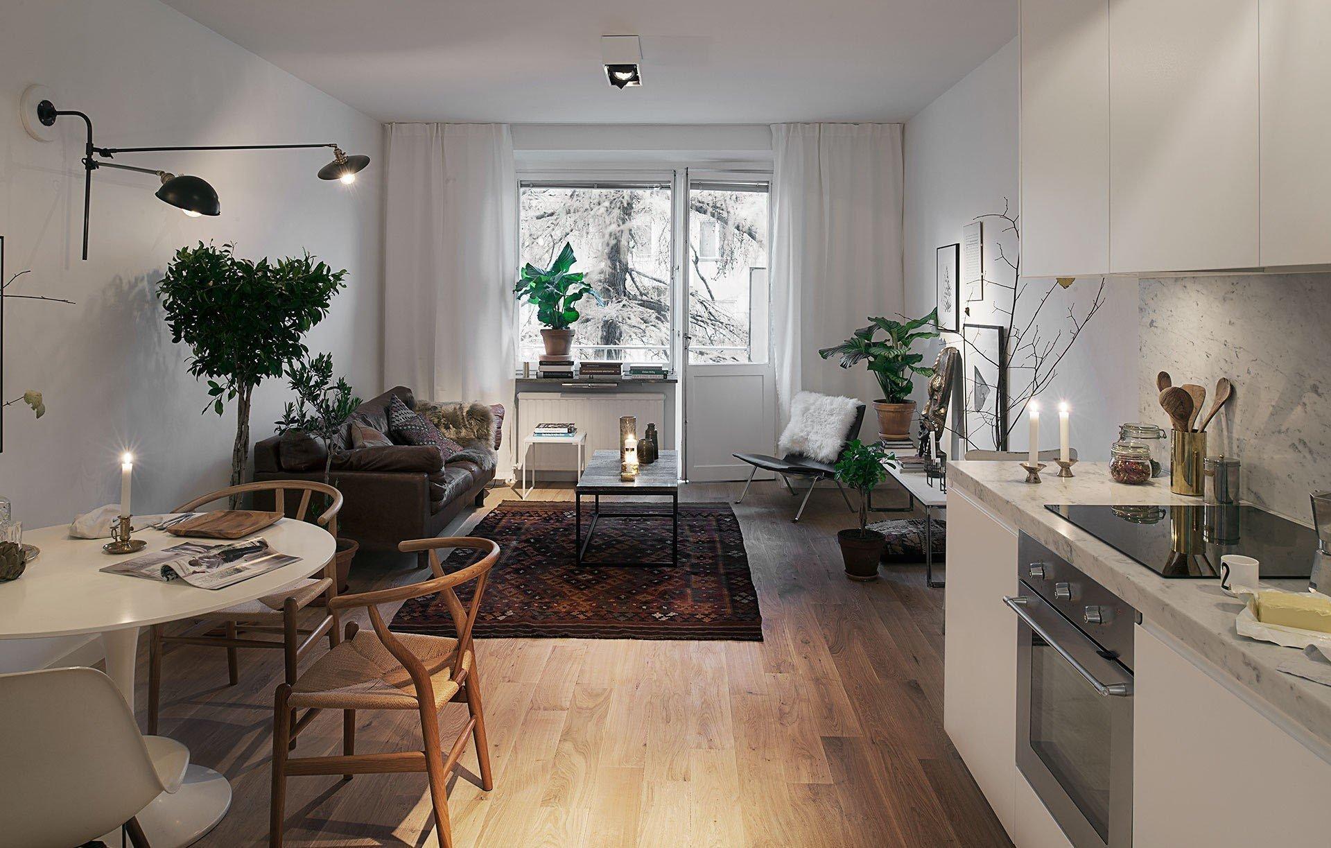 Кухня-гостиная в студии 23 кв м