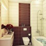 Бордово-белая ванная комната
