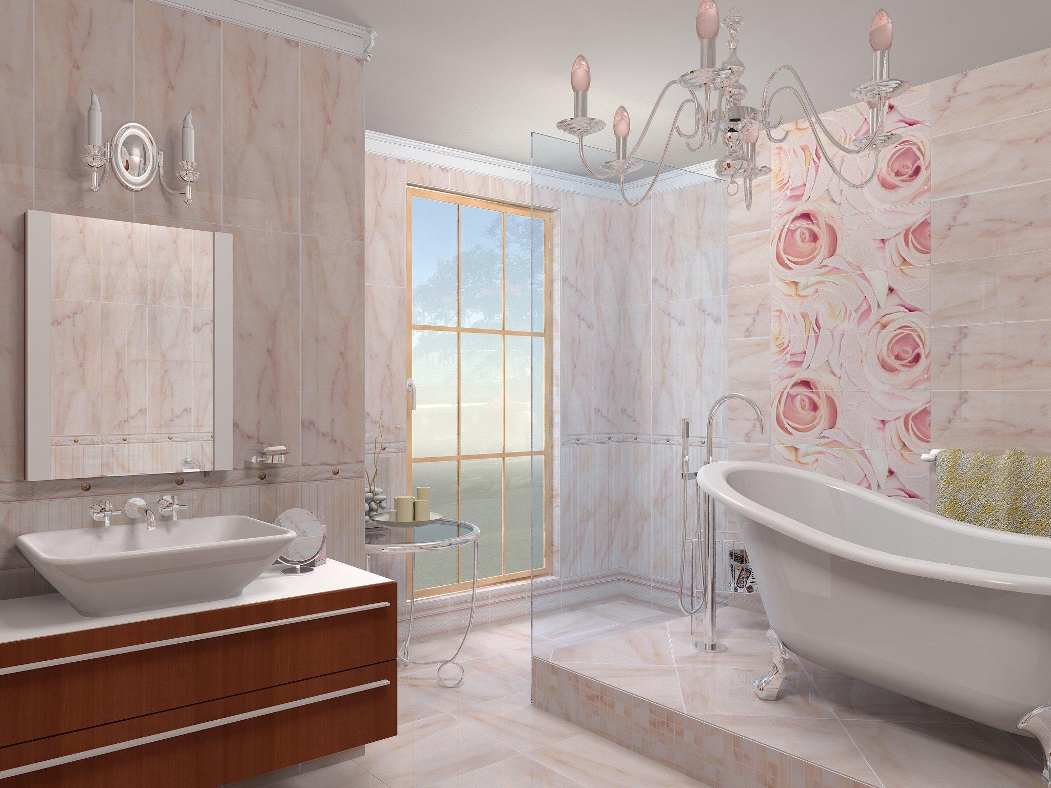Сочетание бежевого и розового в дизайне ванной