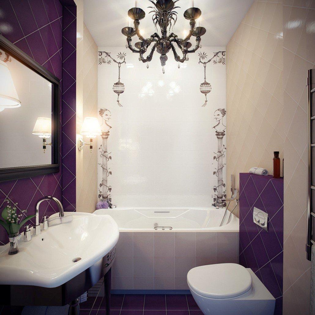 Отделка узкой ванной комнаты фиолетовой плиткой