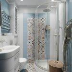 Отделка стены в ванной декоративной плиткой