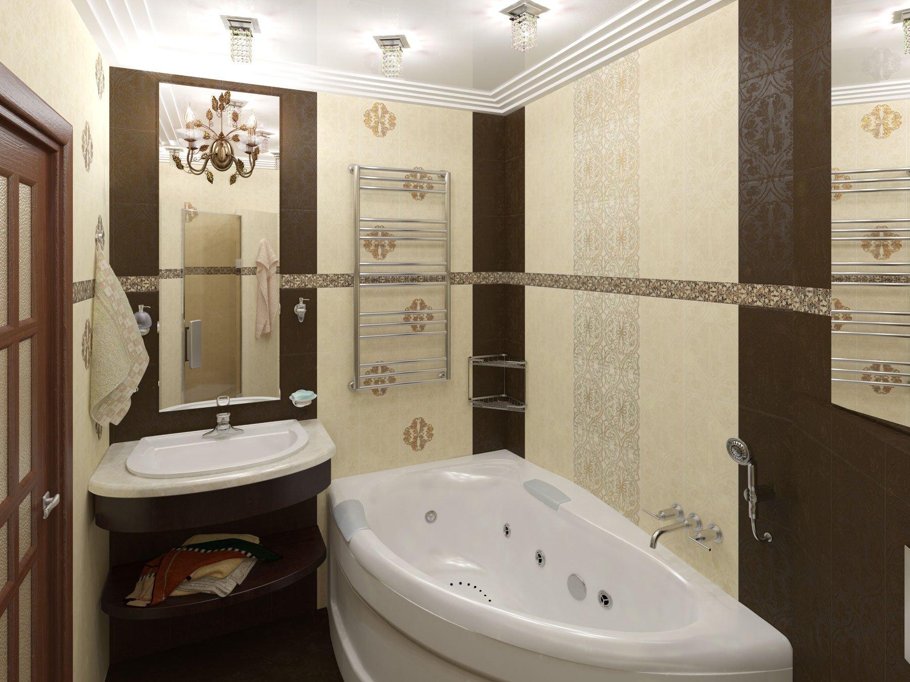 Дизайн узкой ванной комнаты в бежево-шоколадных тонах