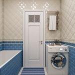 Бежевый и синий в отделке ванной