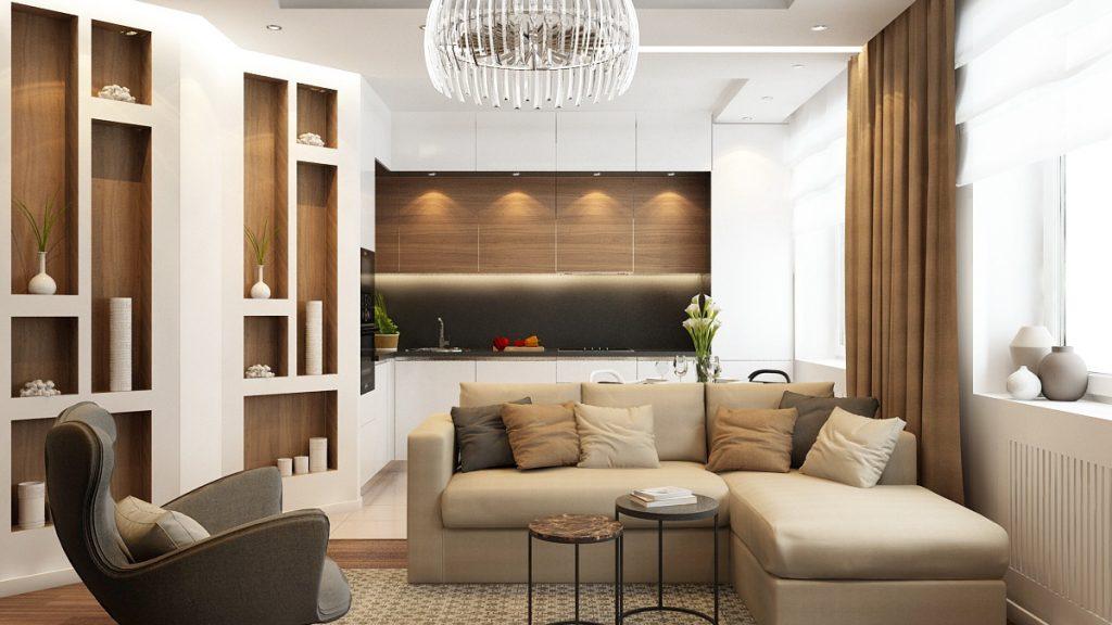 Дизайн комнаты в бежевых тонах