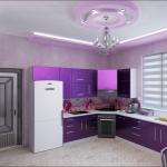 Красивый дизайн кухни в фиолетовых тонах