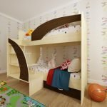 Современный дизайн двухъярусной кровати