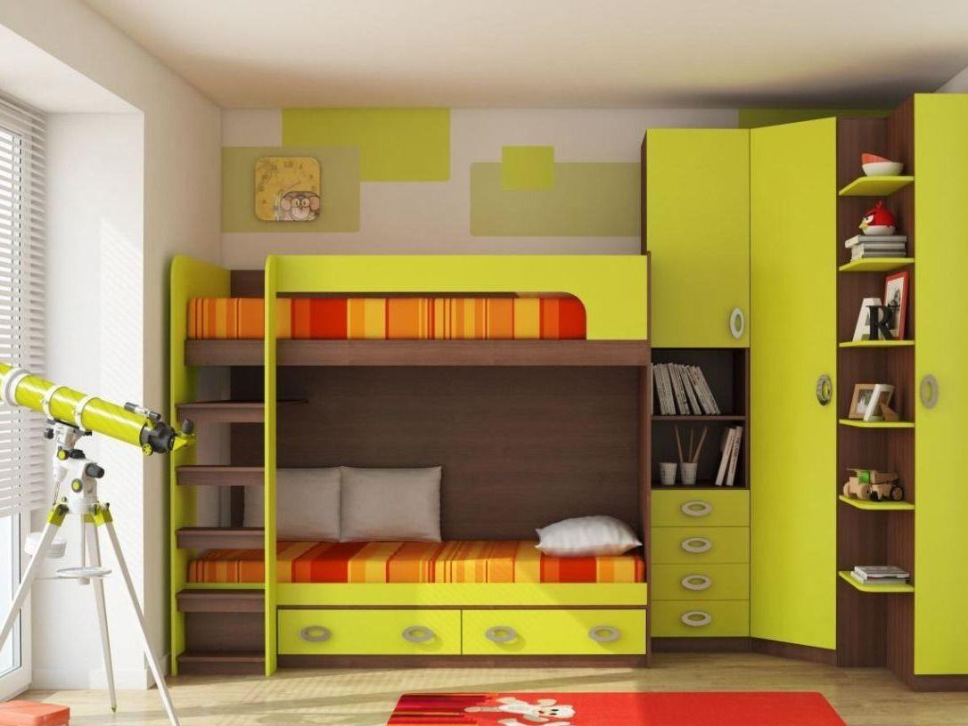 Оттенки зеленого и оранжевого в интерьере детской
