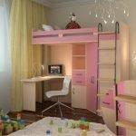 Розовая двухъярусная кровать с рабочей зоной