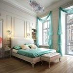 Бирюзовые шторы в светлом интерьере