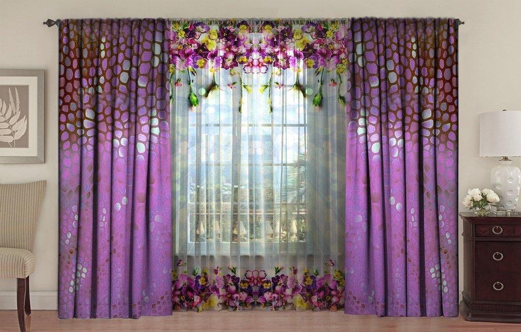 Гардина и шторы в фиолетовых тонах