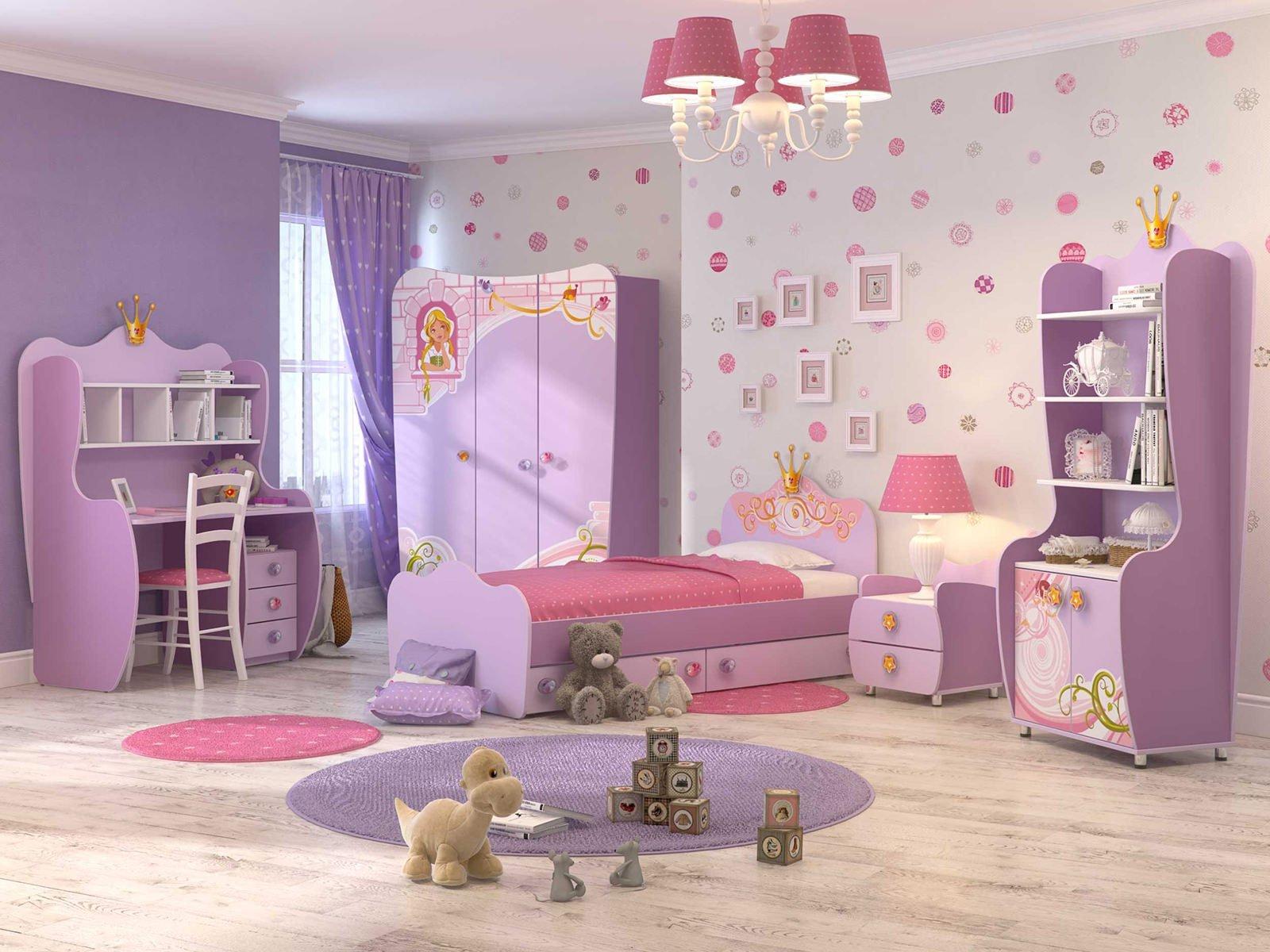Фиолетовый и розовый в дизайне детской