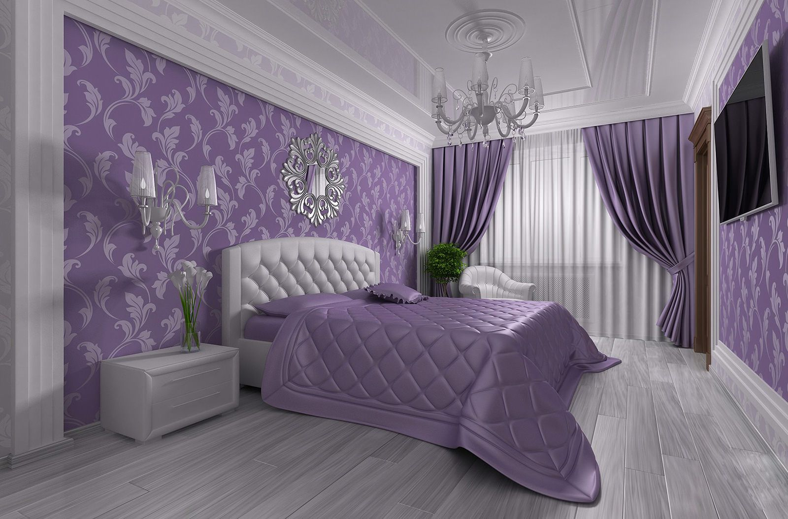 Сиреневое покрывало на кровати