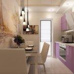 Бежевая кухня с фиолетовой мебелью