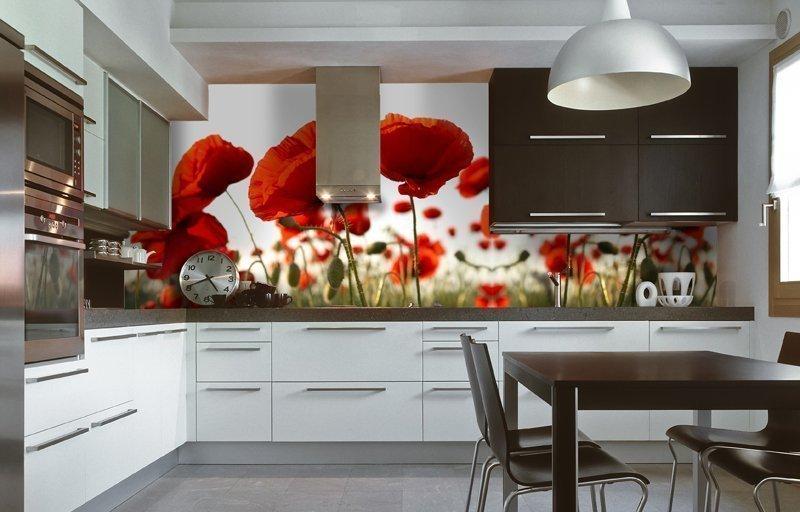 Кухня в стиле модерн с фотообоями