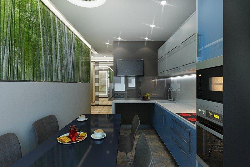 Узкая кухня с фотообоями