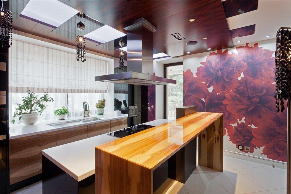 Фотообои в монохромной кухне