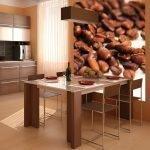 Фотообои с кофейными зернами на кухне