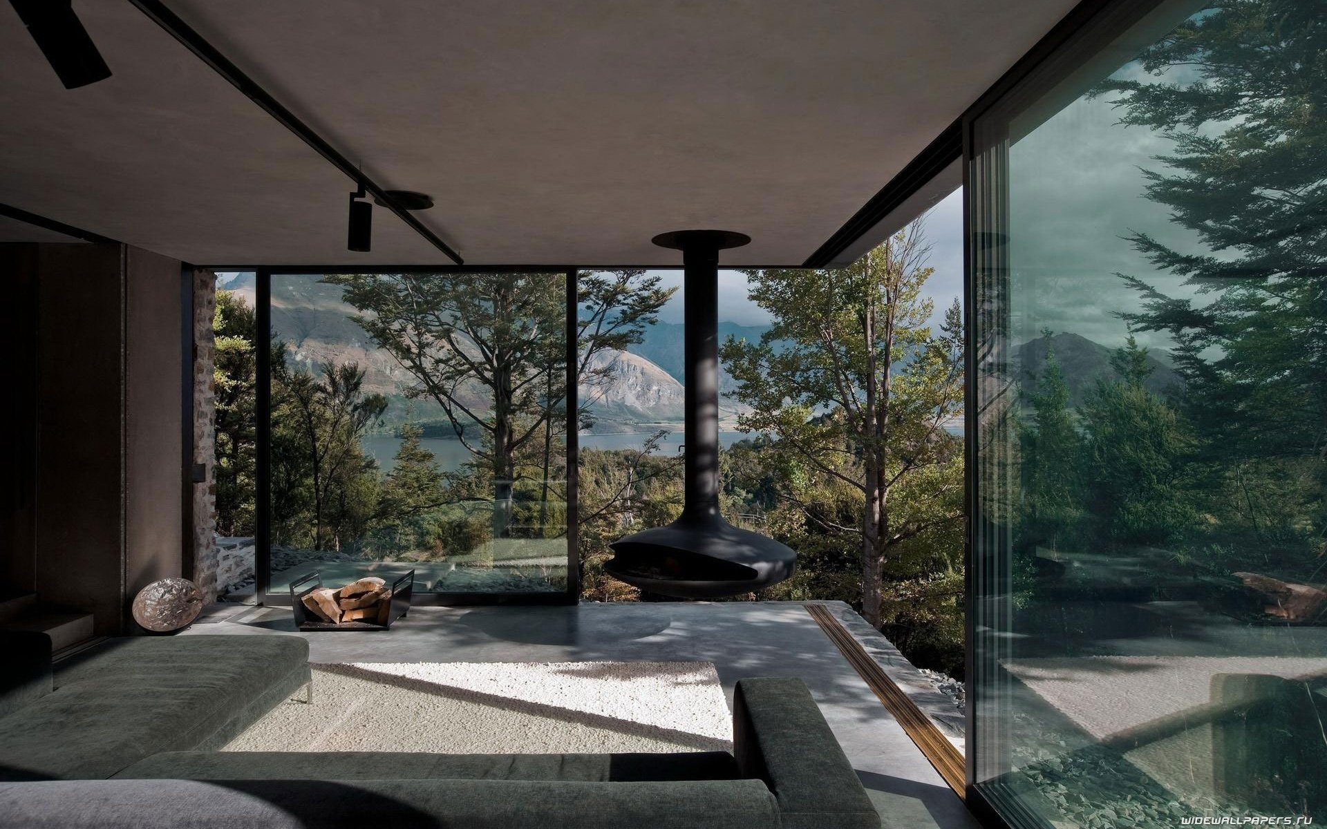 Интерьер с панорамными окнами: в гостиной, спальне, ванной +75 фото