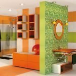 Салатный и оранжевый в интерьере