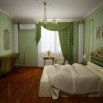 Спальня в зеленых, бежевых и бордовых тонах