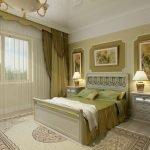 Интерьер зеленой спальни в классическом стиле