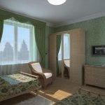 Простой интерьер спальни в зеленых и бежевых тонах