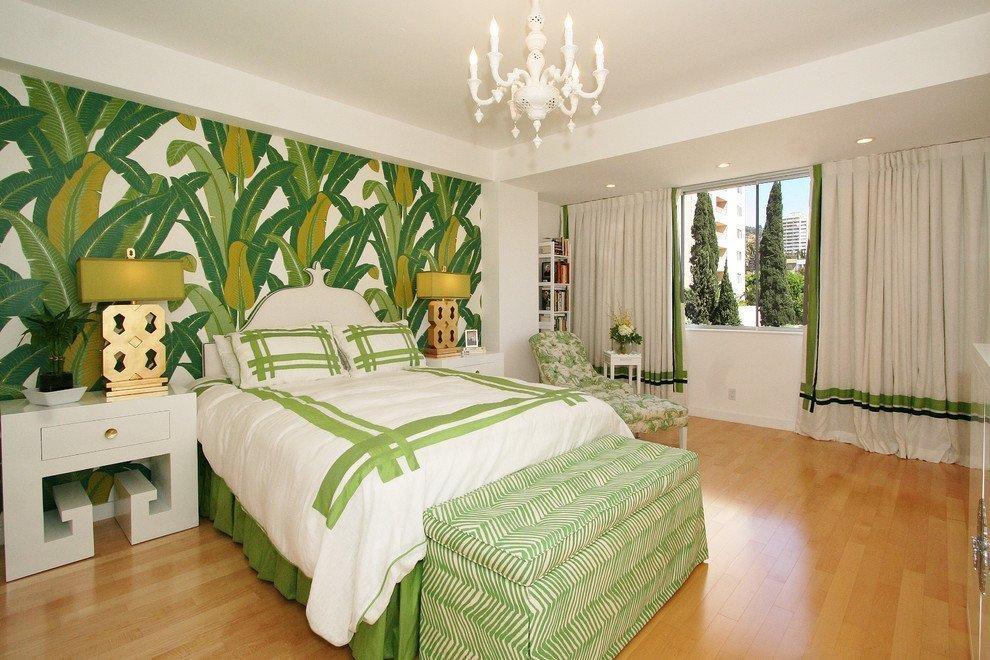 Спальня в зеленых тонах с фотообоями