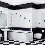 Черно-белая клетка в дизайне ванной