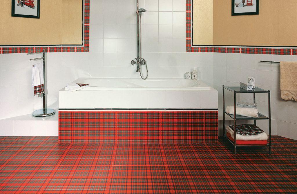 Шотландская клетка в дизайне ванной