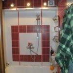Красная клетка в дизайне ванной