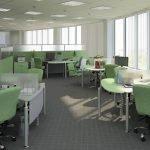 Интерьер офиса в светло-зеленых и белых тонах