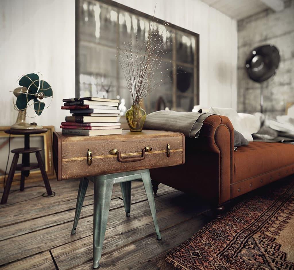 Деревянный пол в интерьере в ретро стиле